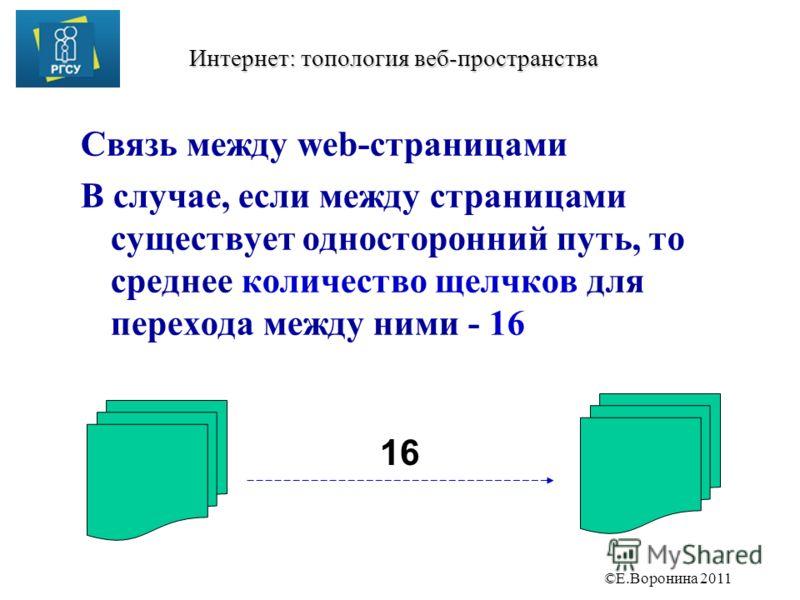 ©Е.Воронина 2011 Интернет: топология веб-пространства Связь между web-страницами В случае, если между страницами существует односторонний путь, то среднее количество щелчков для перехода между ними - 16 16