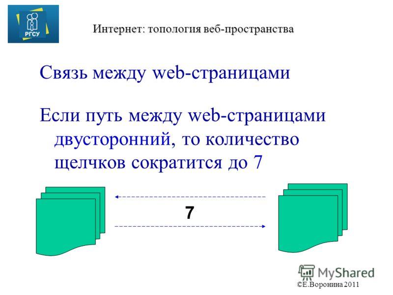 ©Е.Воронина 2011 Интернет: топология веб-пространства Связь между web-страницами Если путь между web-страницами двусторонний, то количество щелчков сократится до 7 7