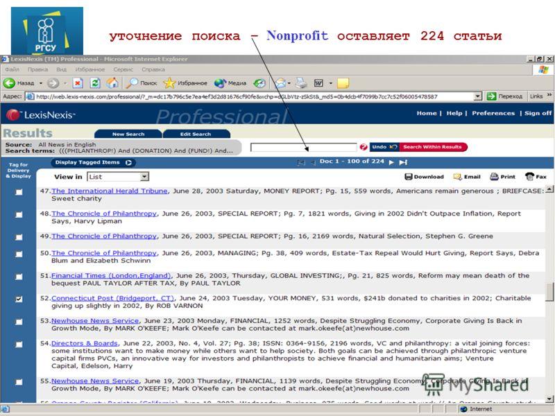 ©Е.Воронина 2011 уточнение поиска – Nonprofi t оставляет 224 статьи