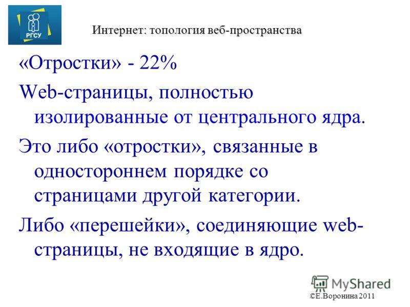 ©Е.Воронина 2011 Интернет: топология веб-пространства «Отростки» - 22% Web-страницы, полностью изолированные от центрального ядра. Это либо «отростки», связанные в одностороннем порядке со страницами другой категории. Либо «перешейки», соединяющие we