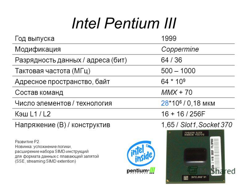 Intel Pentium III Год выпуска1999 МодификацияCoppermine Разрядность данных / адреса (бит)64 / 36 Тактовая частота (МГц)500 – 1000 Адресное пространство, байт64 * 10 9 Состав командММХ + 70 Число элементов / технология28*10 6 / 0,18 мкм Кэш L1 / L216