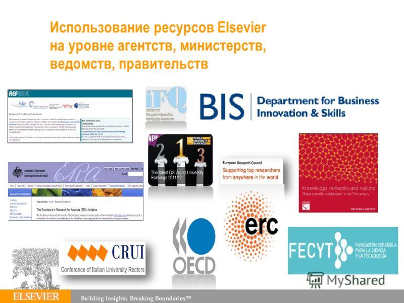 Использование ресурсов Elsevier на уровне агентств, министерств, ведомств, правительств