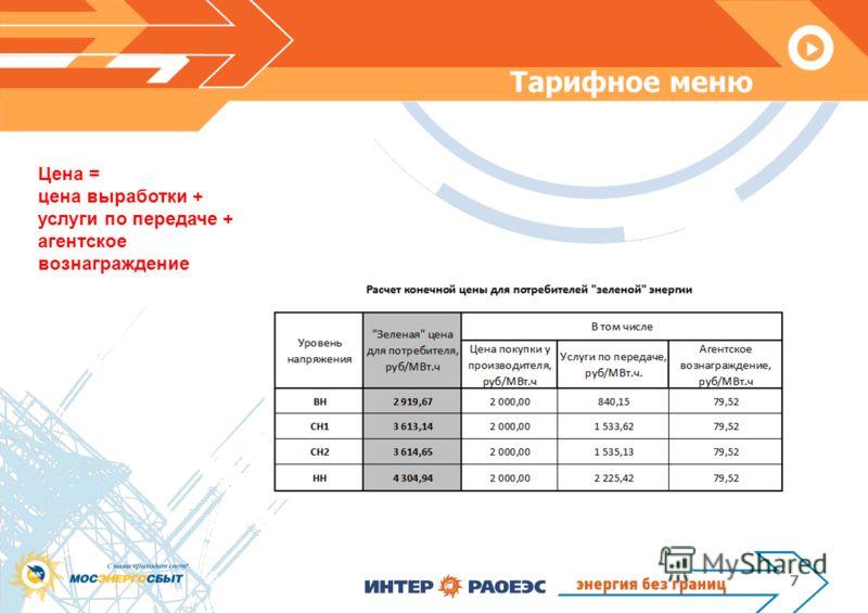 Тарифное меню 7 Цена = цена выработки + услуги по передаче + агентское вознаграждение
