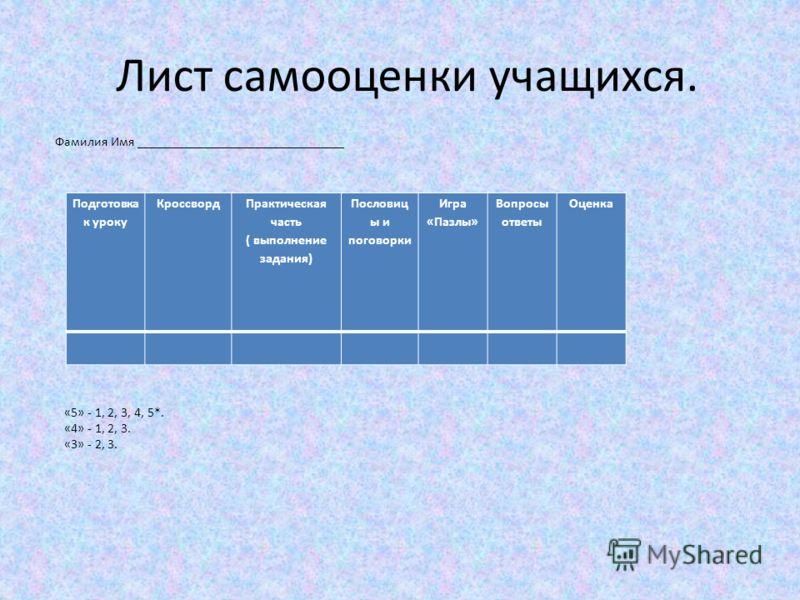 Лист самооценки учащихся. Подготовка к уроку Кроссворд Практическая часть ( выполнение задания) Пословиц ы и поговорки Игра «Пазлы» Вопросы ответы Оценка Фамилия Имя _______________________________ «5» - 1, 2, 3, 4, 5*. «4» - 1, 2, 3. «3» - 2, 3.