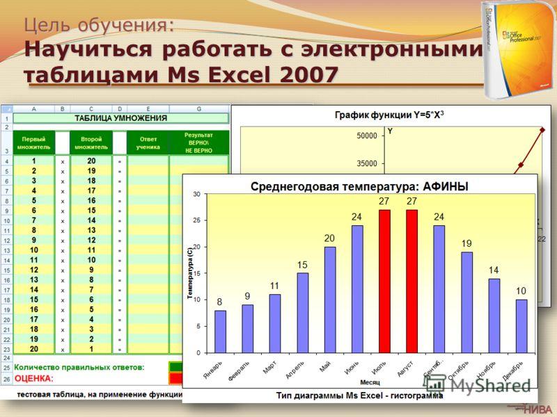 Цель обучения: Научиться работать с электронными таблицами Ms Excel 2007 Создавать и оформлять таблицы Производить вычисления в таблицах Использовать встроенные математические функции Строить графики и диаграммы Выводить таблицы Ms Excel на печать
