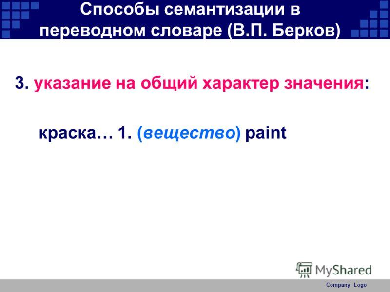 Company Logo Способы семантизации в переводном словаре (В.П. Берков) 3. указание на общий характер значения: краска… 1. (вещество) paint