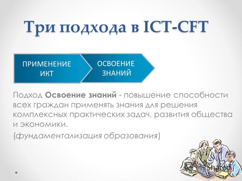 Подход Освоение знаний - повышение способности всех граждан применять знания для решения комплексных практических задач, развития общества и экономики. (фундаментализация образования) ОСВОЕНИЕ ЗНАНИЙ ПРИМЕНЕНИЕ ИКТ Три подхода в ICT-CFT