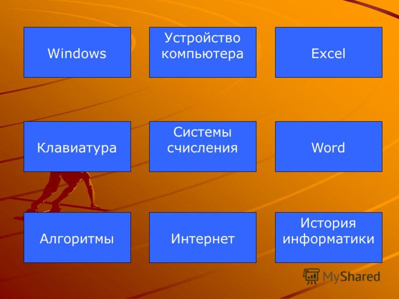 Устройство компьютераWindowsExcel Системы счисленияКлавиатураWord ИнтернетАлгоритмы История информатики