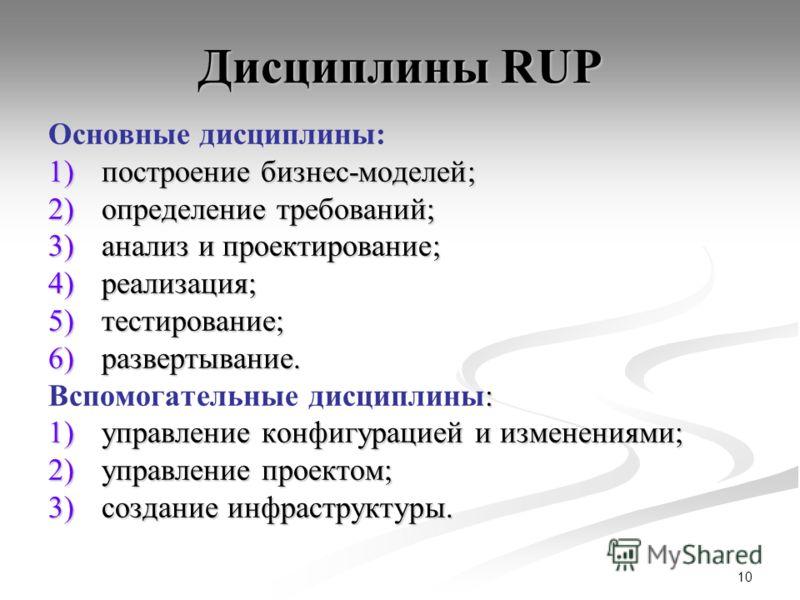 10 Дисциплины RUP Основные дисциплины: 1)построение бизнес-моделей; 2)определение требований; 3)анализ и проектирование; 4)реализация; 5)тестирование; 6)развертывание. : Вспомогательные дисциплины: 1)управление конфигурацией и изменениями; 2)управлен