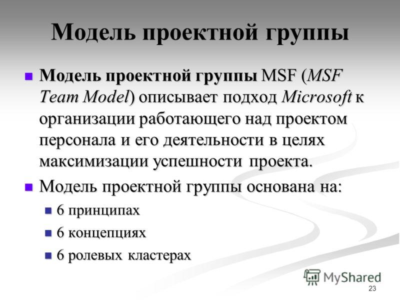 23 Модель проектной группы Модель проектной группы MSF (MSF Team Model) описывает подход Microsoft к организации работающего над проектом персонала и его деятельности в целях максимизации успешности проекта. Модель проектной группы MSF (MSF Team Mode