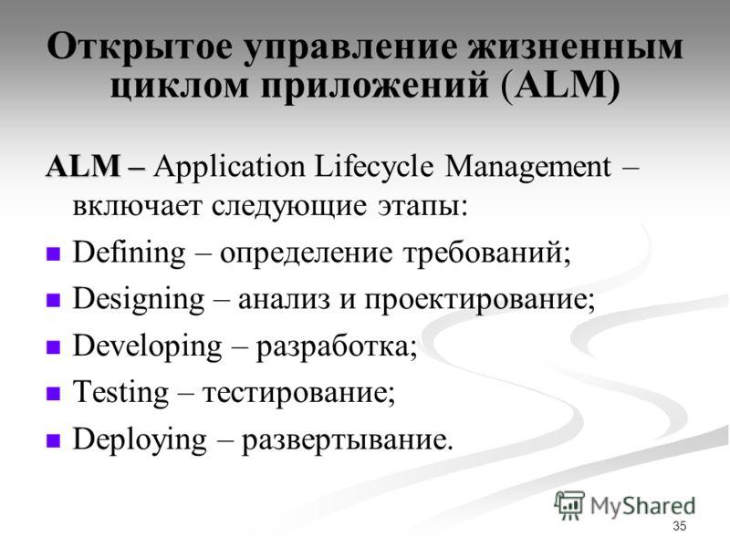 35 ( Открытое управление жизненным циклом приложений (ALM) ALM – ALM – Application Lifecycle Management – включает следующие этапы: Defining – определение требований; Designing – анализ и проектирование; Developing – разработка; Testing – тестировани