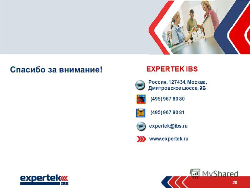 20 Место для фото Спасибо за внимание! EXPERTEK IBS Россия, 127434, Москва, Дмитровское шоссе, 9Б (495) 967 80 80 (495) 967 80 81 expertek@ibs.ru www.expertek.ru