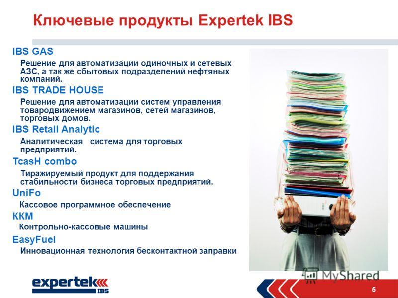 5 Ключевые продукты Expertek IBS IBS GAS Решение для автоматизации одиночных и сетевых АЗС, а так же сбытовых подразделений нефтяных компаний. IBS TRADE HOUSE Решение для автоматизации систем управления товародвижением магазинов, сетей магазинов, тор