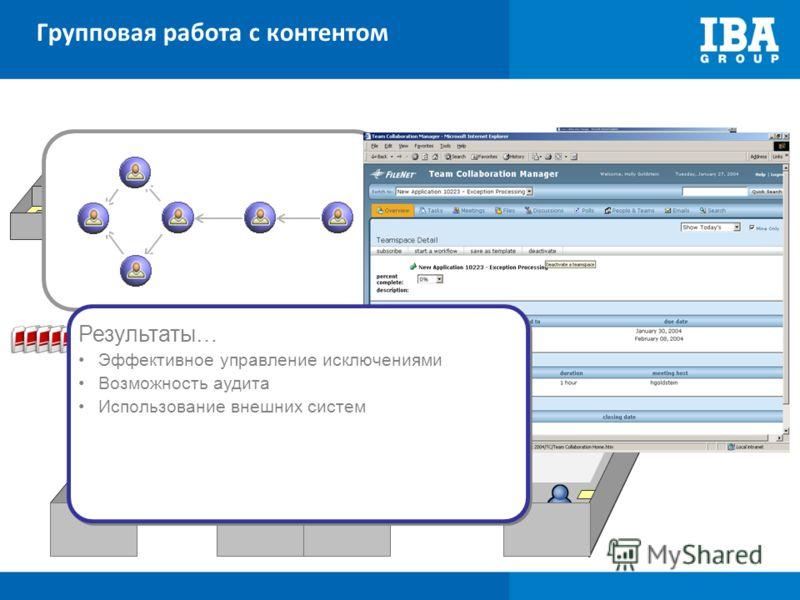 Групповая работа с контентом Teamspace Point in Process Collaboration Приглашение людей Публикация контента Назначение заданий Point in Collaboration Инициация процесса Направить в новый процесс Вызвать подпроцесс Объявить записи Возобновить процесс