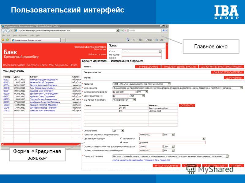 Пользовательский интерфейс Главное окно Форма «Кредитная заявка»