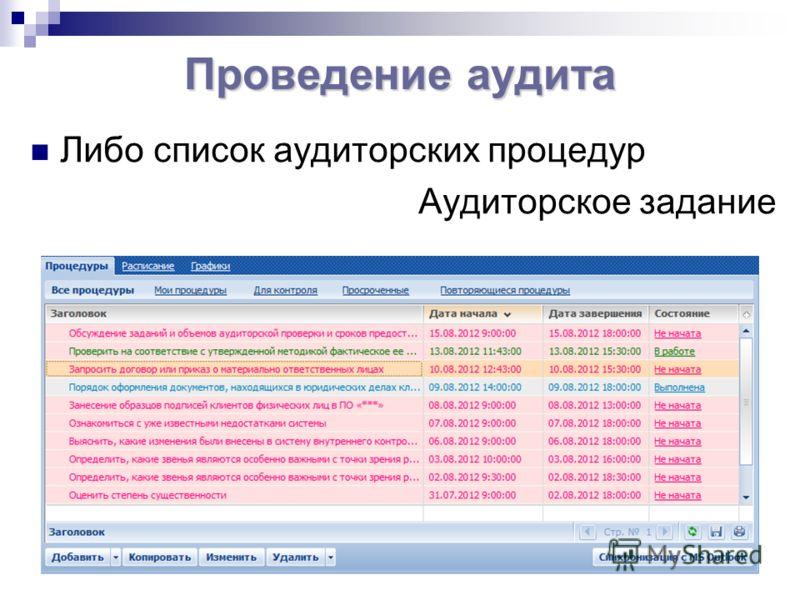 Либо список аудиторских процедур Аудиторское задание Проведение аудита