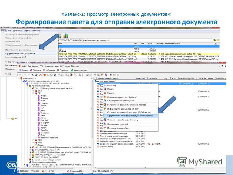 «Баланс-2: Просмотр электронных документов»: Формирование пакета для отправки электронного документа