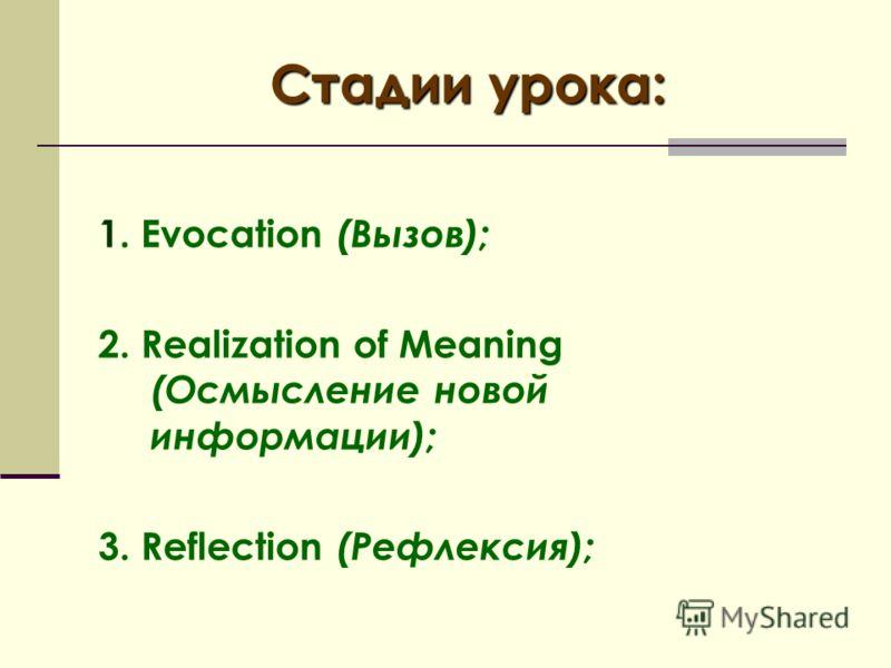 Стадии урока: 1. Evocation (Вызов); 2. Realization of Meaning (Осмысление новой информации); 3. Reflection (Рефлексия);