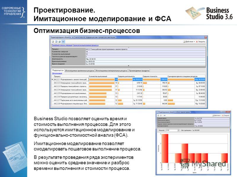 Проектирование. Имитационное моделирование и ФСА Оптимизация бизнес-процессов Business Studio позволяет оценить время и стоимость выполнения процессов. Для этого используются имитационное моделирование и функционально-стоимостной анализ (ФСА). Имитац