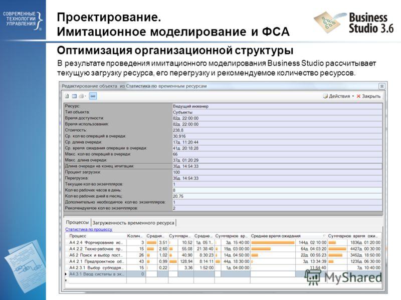 Проектирование. Имитационное моделирование и ФСА Оптимизация организационной структуры В результате проведения имитационного моделирования Business Studio рассчитывает текущую загрузку ресурса, его перегрузку и рекомендуемое количество ресурсов.