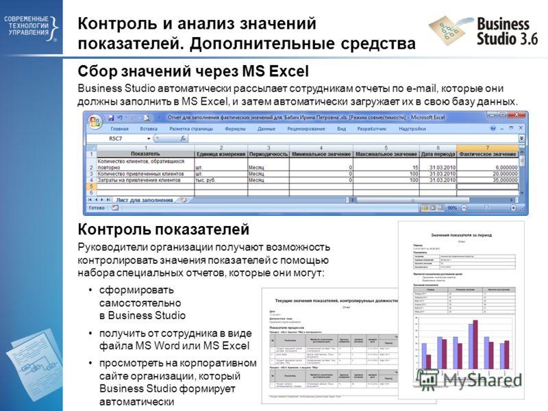 Контроль и анализ значений показателей. Дополнительные средства Контроль показателей Руководители организации получают возможность контролировать значения показателей с помощью набора специальных отчетов, которые они могут: cформировать самостоятельн
