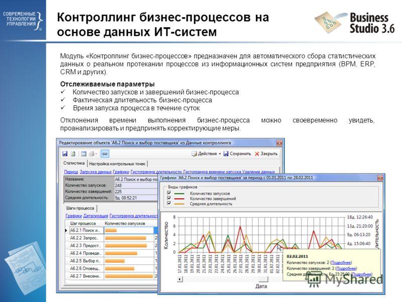 Модуль «Контроллинг бизнес-процессов» предназначен для автоматического сбора статистических данных о реальном протекании процессов из информационных систем предприятия (BPM, ERP, CRM и других). Отслеживаемые параметры Количество запусков и завершений