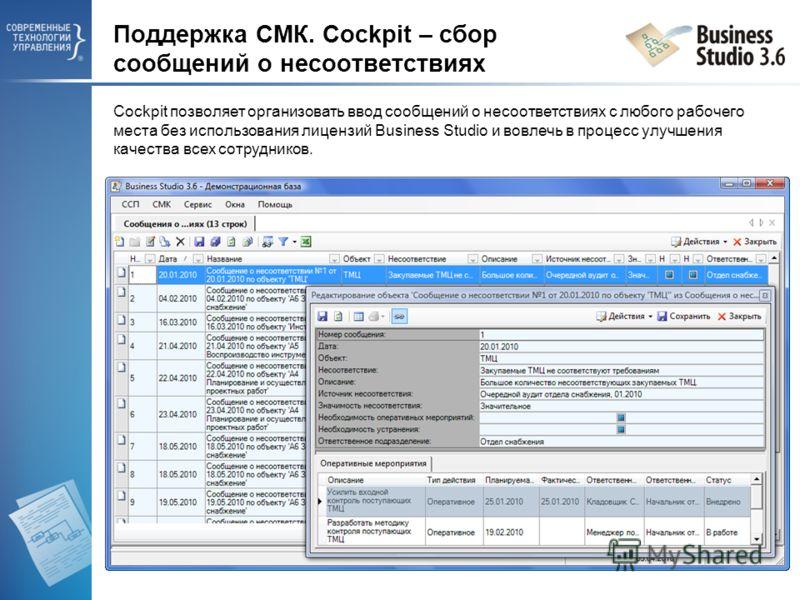 Поддержка СМК. Cockpit – сбор сообщений о несоответствиях Cockpit позволяет организовать ввод сообщений о несоответствиях с любого рабочего места без использования лицензий Business Studio и вовлечь в процесс улучшения качества всех сотрудников.