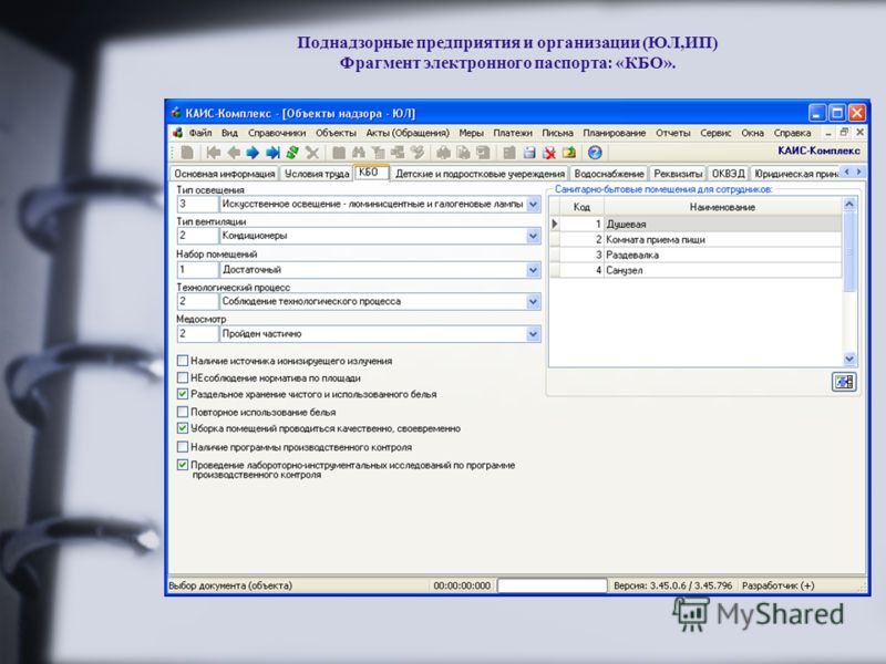 Поднадзорные предприятия и организации (ЮЛ,ИП) Фрагмент электронного паспорта: «КБО».