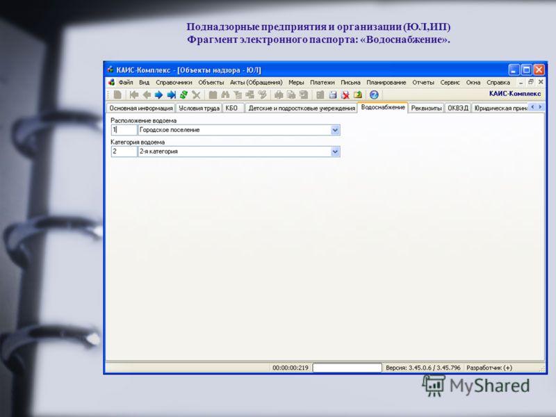 Поднадзорные предприятия и организации (ЮЛ,ИП) Фрагмент электронного паспорта: «Водоснабжение».