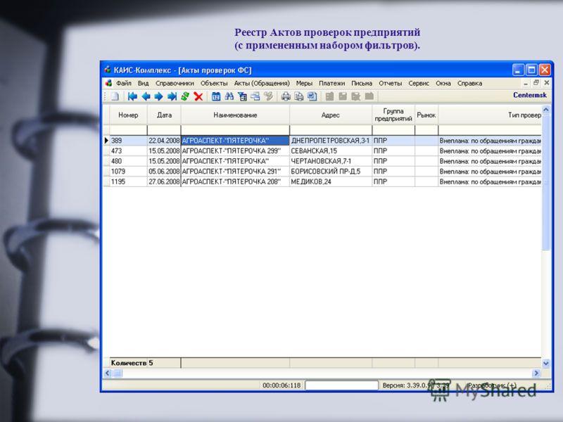 Реестр Актов проверок предприятий (с примененным набором фильтров).