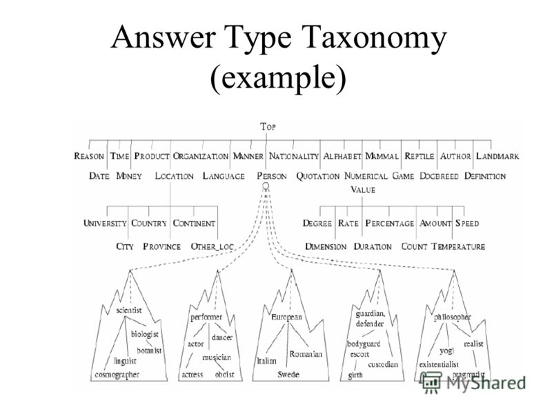 Answer Type Taxonomy (example)