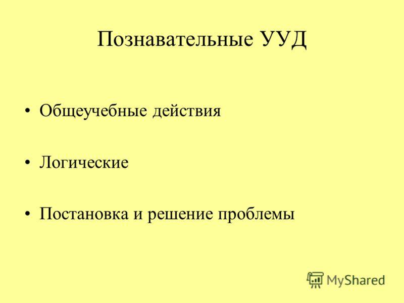 Познавательные УУД Общеучебные действия Логические Постановка и решение проблемы