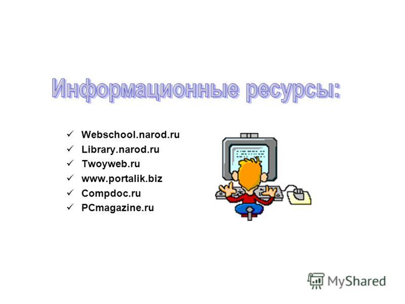 Webschool.narod.ru Library.narod.ru Twoyweb.ru www.portalik.biz Compdoc.ru PCmagazine.ru