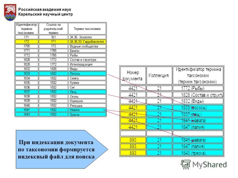 Российская академия наук Карельский научный центр При индексации документа по таксономии формируется индексный файл для поиска