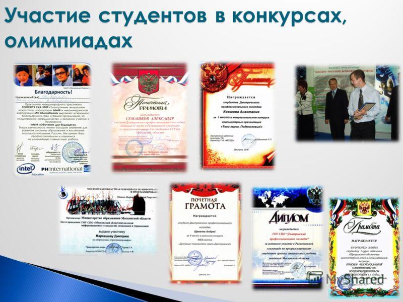 Участие студентов в конкурсах, олимпиадах