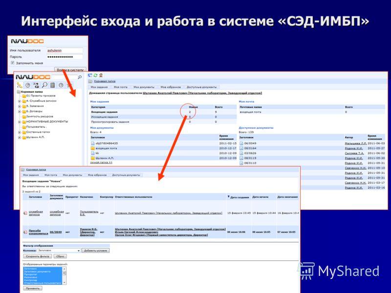 Интерфейс входа и работа в системе «СЭД-ИМБП»
