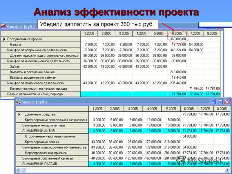 Анализ эффективности проекта Убедили заплатить за проект 360 тыс.руб.