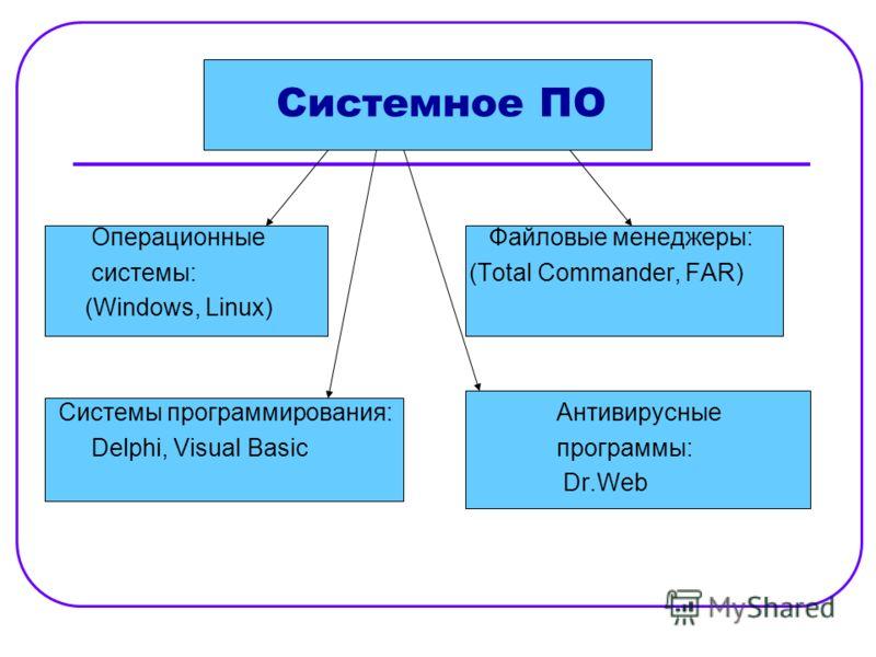 Системное ПО Операционные Файловые менеджеры: системы:(Total Commander, FAR) (Windows, Linux) Системы программирования:Антивирусные Delphi, Visual Basicпрограммы: Dr.Web