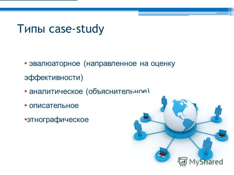 Типы case-study эвалюаторное (направленное на оценку эффективности) аналитическое (объяснительное) описательное этнографическое