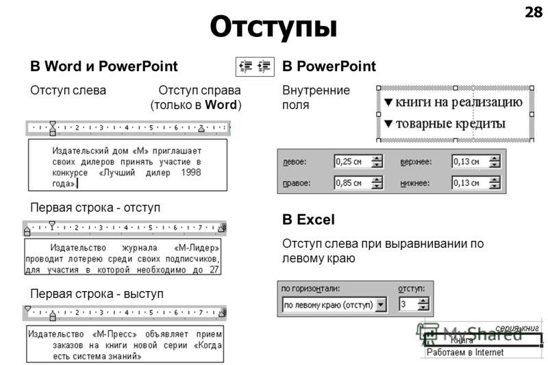 28 Отступы В Word и PowerPoint Отступ слева Отступ справа (только в Word) Первая строка - отступ Первая строка - выступ В PowerPoint Внутренние поля В Excel Отступ слева при выравнивании по левому краю