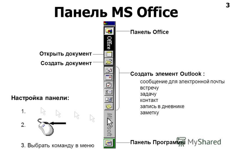 3 Панель MS Office Открыть документ Создать документ Создать элемент Outlook : сообщение для электронной почты встречу задачу контакт запись в дневнике заметку Панель Office Панель Программы Настройка панели: 1. 2. 3. Выбрать команду в меню