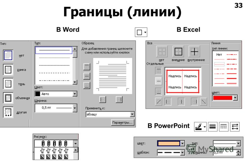 33 Границы (линии) В WordВ Excel В PowerPoint