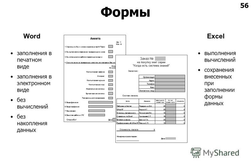 56 Формы ExcelWord заполнения в печатном виде заполнения в электронном виде без вычислений без накопления данных выполнения вычислений сохранения внесенных при заполнении формы данных