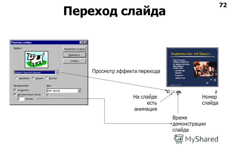 72 Переход слайда Номер слайда Время демонстрации слайда На слайде есть анимация Просмотр эффекта перехода