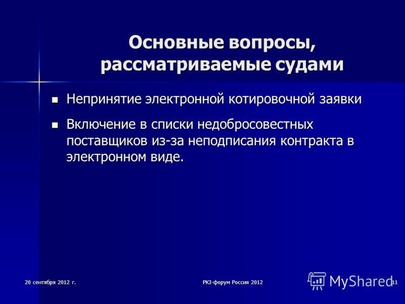 20 сентября 2012 г.PKI-форум Россия 201211 Основные вопросы, рассматриваемые судами Непринятие электронной котировочной заявки Непринятие электронной котировочной заявки Включение в списки недобросовестных поставщиков из-за неподписания контракта в э