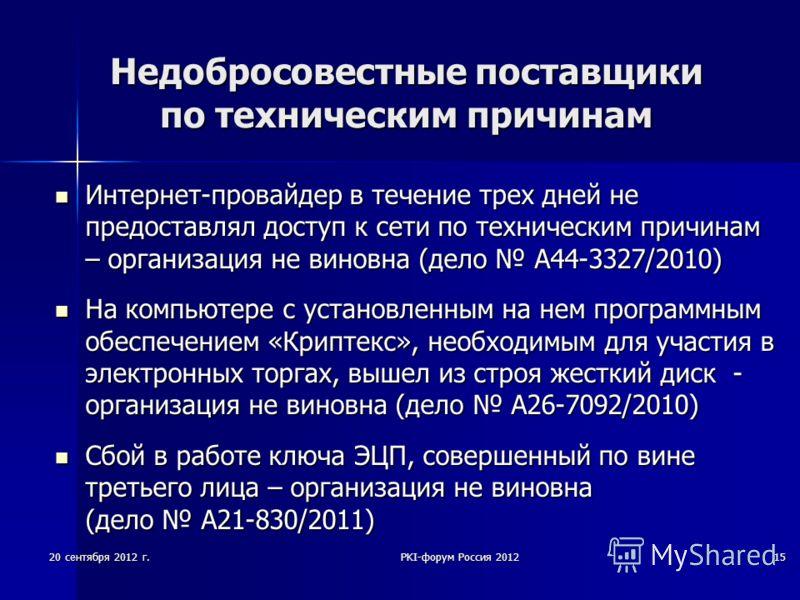 20 сентября 2012 г.PKI-форум Россия 201215 Недобросовестные поставщики по техническим причинам Интернет-провайдер в течение трех дней не предоставлял доступ к сети по техническим причинам – организация не виновна (дело А44-3327/2010) Интернет-провайд