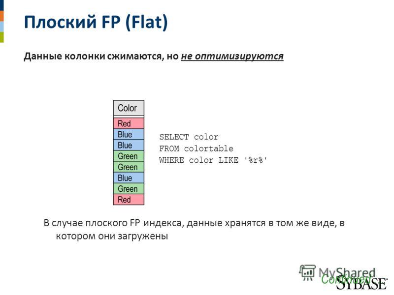 Плоский FP (Flat) Данные колонки сжимаются, но не оптимизируются В случае плоского FP индекса, данные хранятся в том же виде, в котором они загружены Continued …