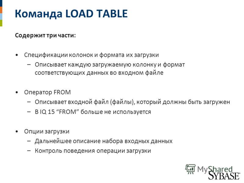Команда LOAD TABLE Содержит три части: Спецификации колонок и формата их загрузки –Описывает каждую загружаемую колонку и формат соответствующих данных во входном файле Оператор FROM –Описывает входной файл (файлы), который должны быть загружен –В IQ