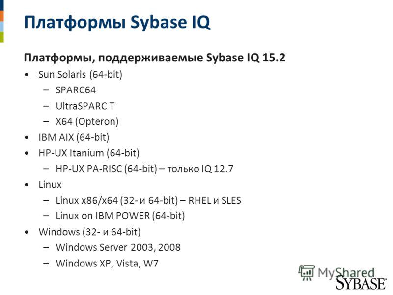 Платформы Sybase IQ Платформы, поддерживаемые Sybase IQ 15.2 Sun Solaris (64-bit) –SPARC64 –UltraSPARC T –X64 (Opteron) IBM AIX (64-bit) HP-UX Itanium (64-bit) –HP-UX PA-RISC (64-bit) – только IQ 12.7 Linux –Linux x86/x64 (32- и 64-bit) – RHEL и SLES