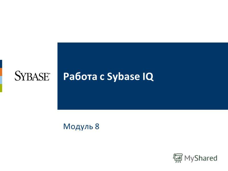 Модуль 8 Работа с Sybase IQ
